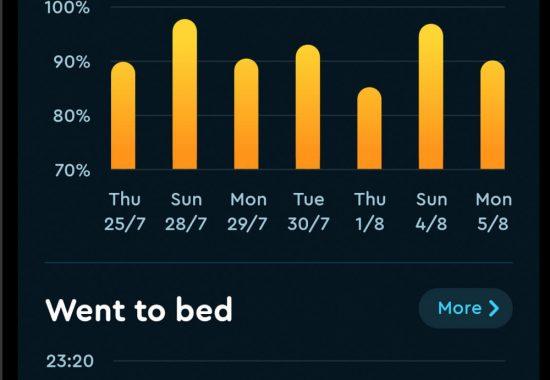 Detalle de estadisticas de la aplicación movil Sleep Cycle.