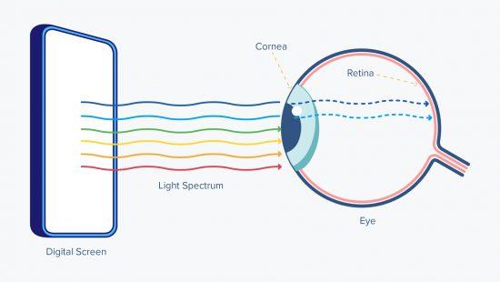 Efecto de la luz azul en la retina. Fuente https://launchprotect.com/pages/bluelight