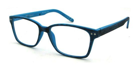 Gafas de ejemplo con lentes de reflexion de la luz azul.